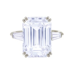 I Flawless GIA Certified 3 Carat Emerald Cut Three Stone Tapered Ring