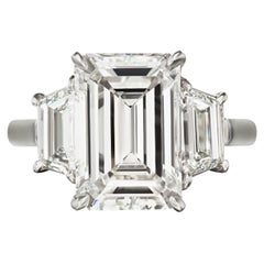 I Flawless GIA Certified 4 Carat Emerald Cut Three Stone Engagement Ring