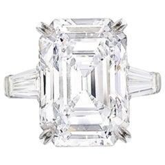 I Flawless GIA Certified 4,50 Carat Emerald Cut Diamond Ring