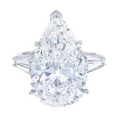 I Flawless GIA Certified 5 Carat Pear Cut Diamond Solitaire Engagement Ring