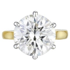 I Flawless GIA Certified 5 Carat Round Cut Diamond Ring