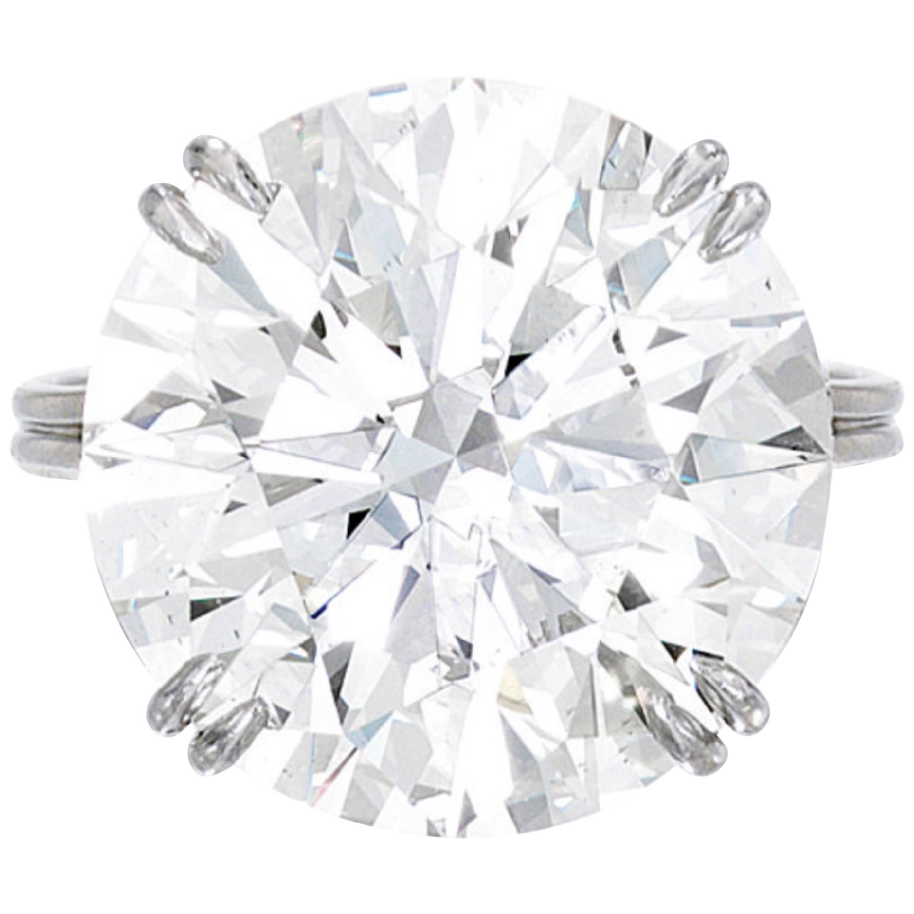 I Flawless GIA Certified 8 Carat Round Brilliant Cut Diamond Ring