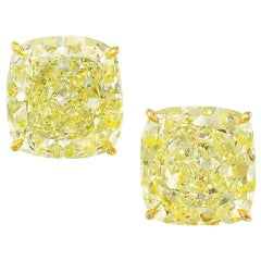 I Flawless GIA Certified Fancy Intense Yellow 2.48 Carat Cushion Diamond Studs