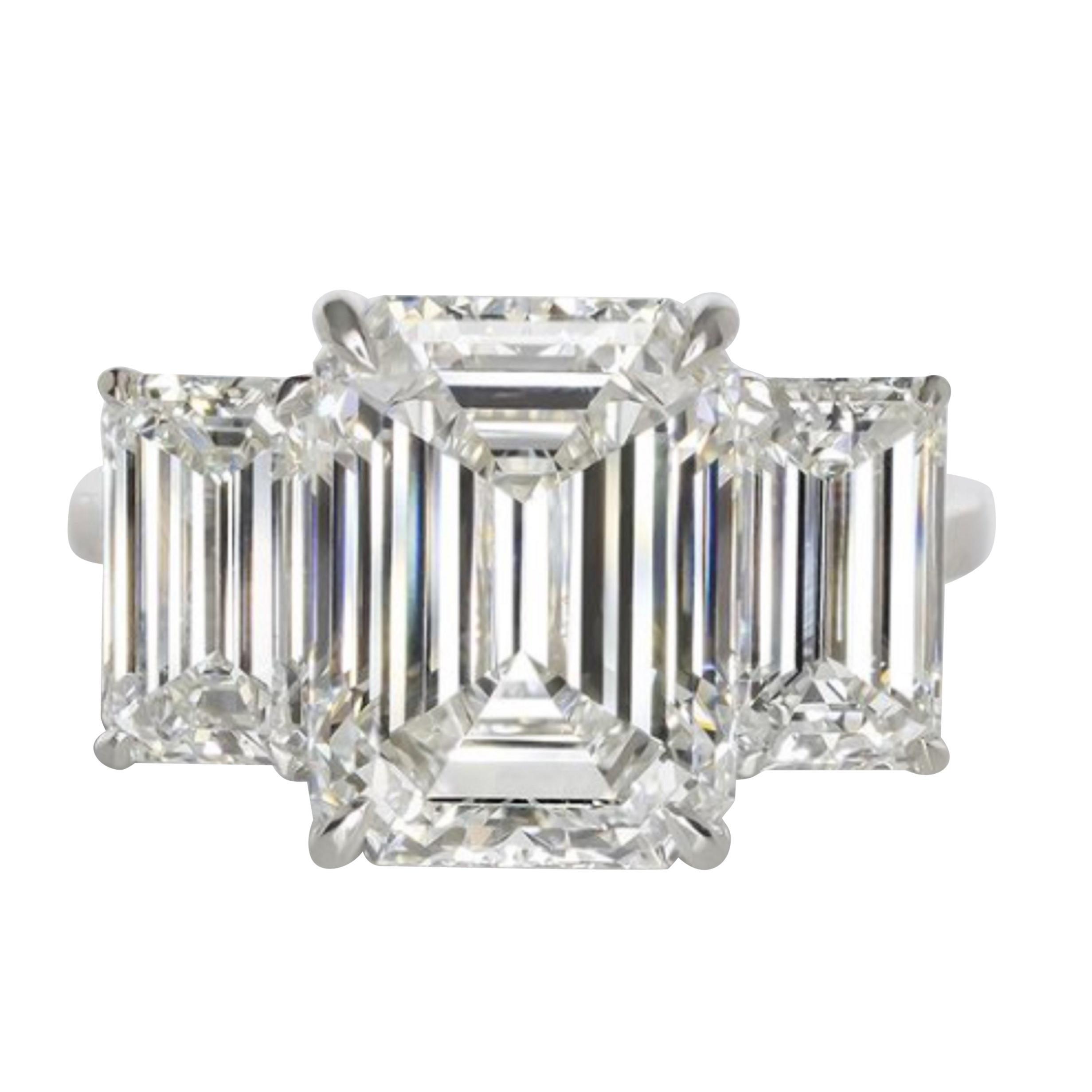 GIA Certified Three Stone Emerald Cut Platinum Ring