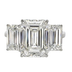 GIA Certified Three Stone Emerald Cut Platinum Ring