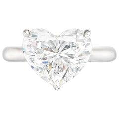 I Flawless HRD Certified 5.53 Carat Heart Shape Diamond Platinum Ring