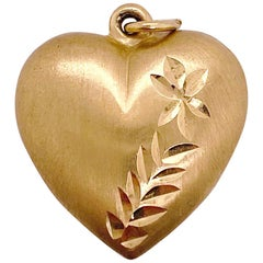 I Gold Puff Heart Charm Pendant, Yellow Gold Love Heart, Puffed on Both Sides