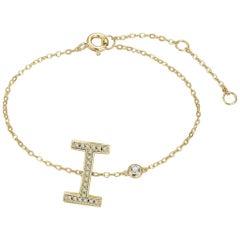 I Initial Bezel Chain Bracelet