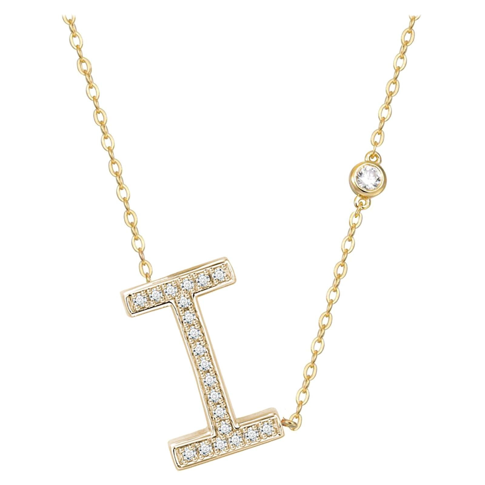 I Initial Bezel Chain Necklace