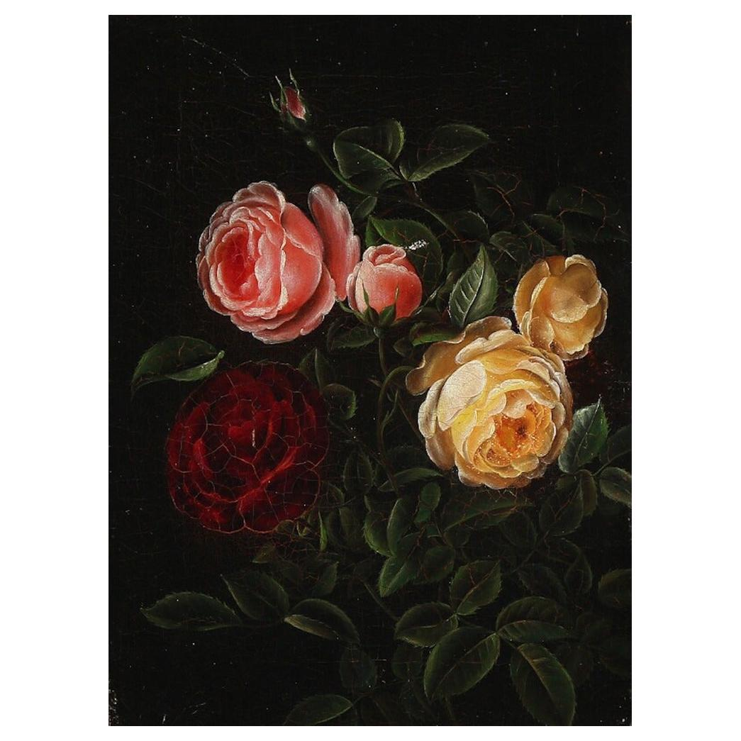 I. L. Jensen, School of, 19th Century Still Life with Red and Yellow Roses