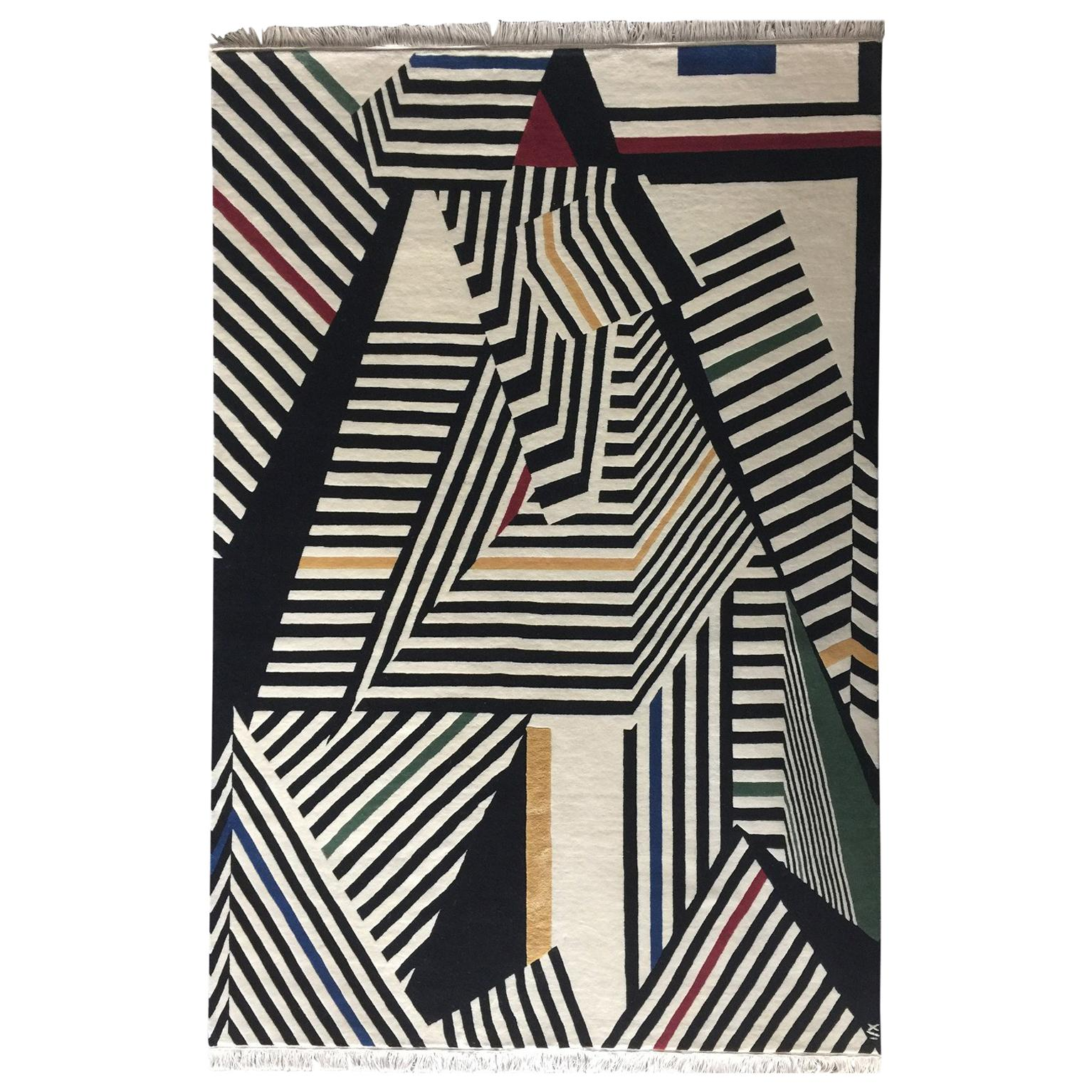 Knotted geometric black/white wool/silk rug by Cecilia Setterdahl for Carpets CC