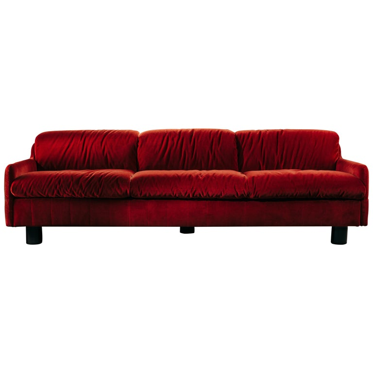 I Love You 3-Seat Sofa in coral wool velvet For Sale