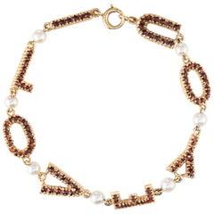 I Love You Bracelet Vintage 14 Karat Yellow Gold Bohemian Garnet Cultured Pearl