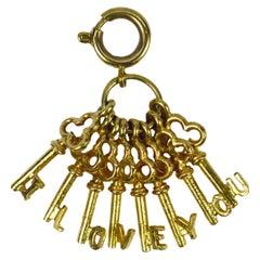 I Love You Keys 9K Yellow Gold Charm Pendant