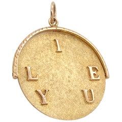 'I Love You' Large Gold Kinetic Spinner Charm