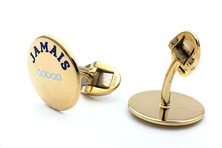 'I Love You More Today' Gold Cufflinks In New Condition For Sale In Greenwich, CT