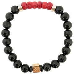 Black Agate and Coral I Love You Unisex Bracelet