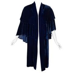 I Magnin & Co. Blue Silk velvet Evening Cape Coat, 1930s