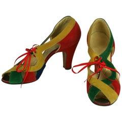 I. Miller Art Deco Suede Shoes