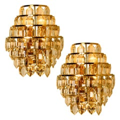 I of the 2 Pairs of the Modern Crystal Glass Wall Sconces by Bakalowits, 1960s