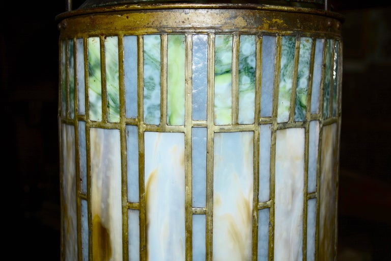 I. P. Frink Stained Glass Hanging Light Fixtures For Sale 3