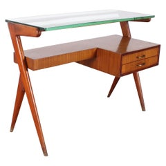 I. Parisi Geometric Midcentury Small Wood and Thick Glass Desk Table Italy 1950s
