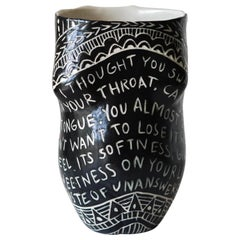 """I thought you swallowed my Love…"" Porcelain Cup with Sgraffito Detailing"
