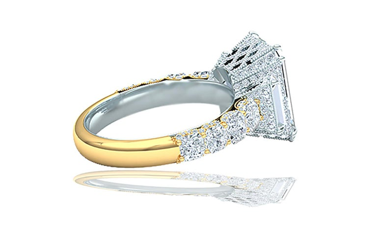 I-VS2 GIA Certified 4 Carat Emerald Cut Diamond Engagement Ring In Excellent Condition For Sale In Aliso Viejo, CA