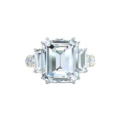 I-VS2 GIA Certified 4 Carat Emerald Cut Diamond Engagement Ring