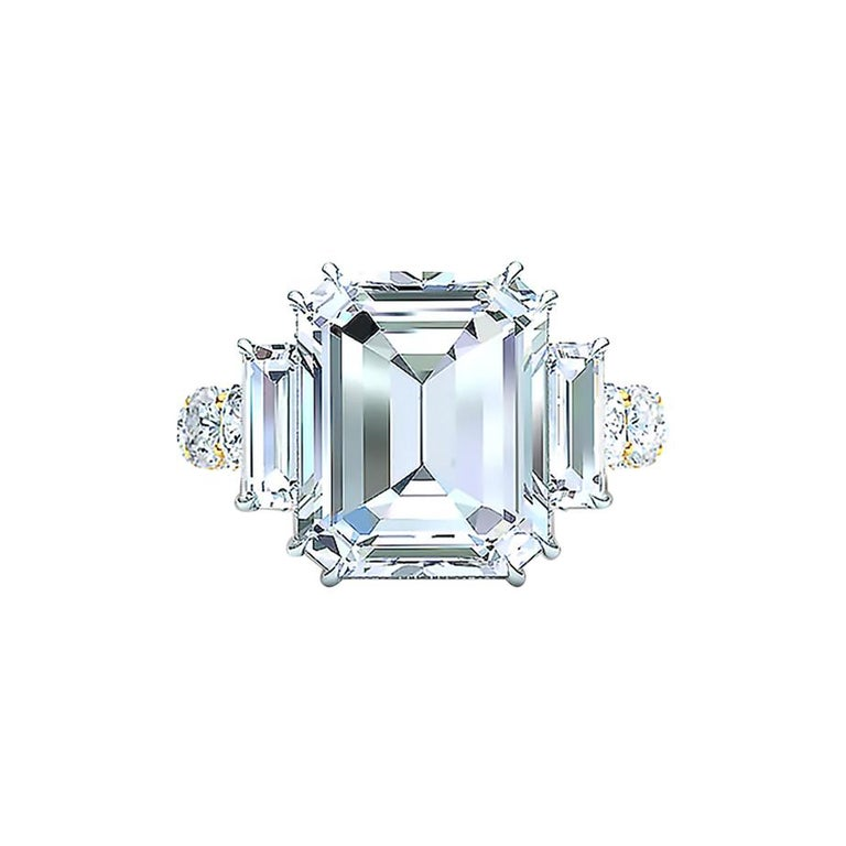 I-VS2 GIA Certified 4 Carat Emerald Cut Diamond Engagement Ring For Sale