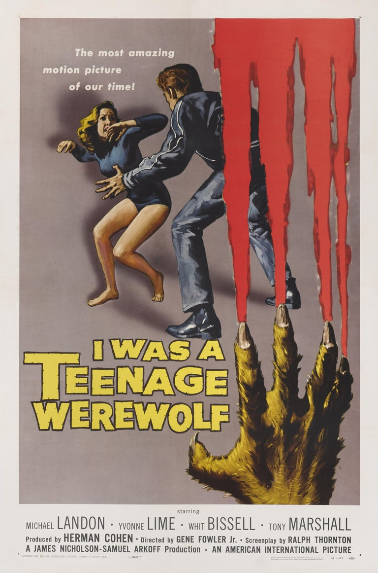 Original US film poster for the 1957 Horror, fantasy film I was a Teenage Werewolf. The film starred Michael Landon, Yvonne Lime. The film was directed by Gene Fowler Jr. The artwork on this poster was created by the famous American illustrator