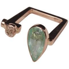 Ia Jewels 14 Carat Gold  Emerald Vintage Diamond Fashion Ring