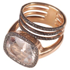 Ia Jewels Gold-Plated Silver White Sapphire Diamond Cocktail Ring