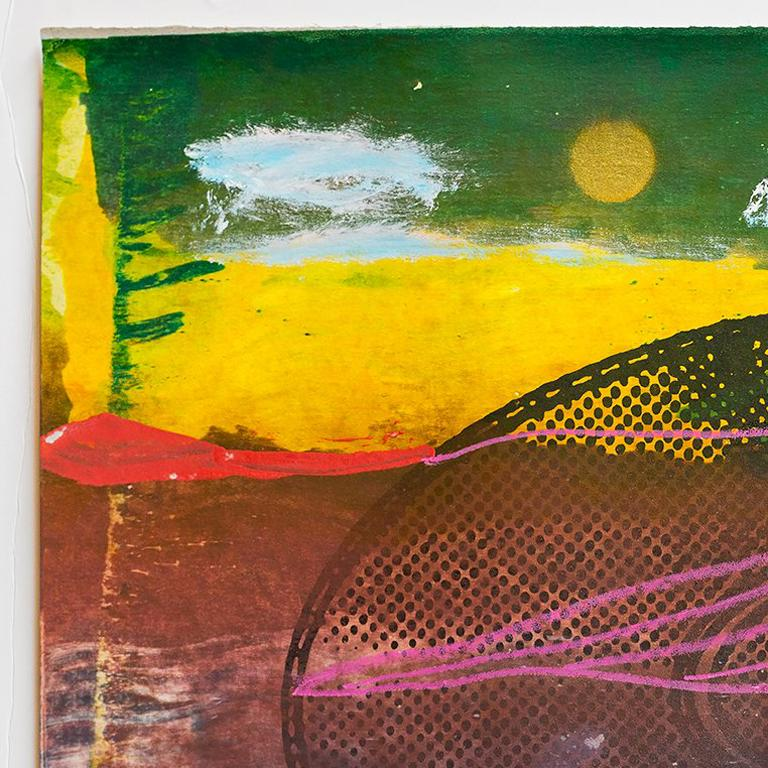 Landscape with music record or disc in bright vibrant colors.   Iain Baxter& (the artist recently added the ampersand to his name) is recognized as Canada's pioneering conceptual artist. For over forty years, Baxter& has continually produced works