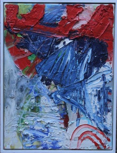Autumn Forms - Scottish Abstract art 20th century oil painting red white blue
