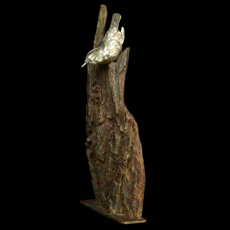 A finely modelled sterling silver Nuthatch on a bronze bark - Sculpture by Ian Bowles