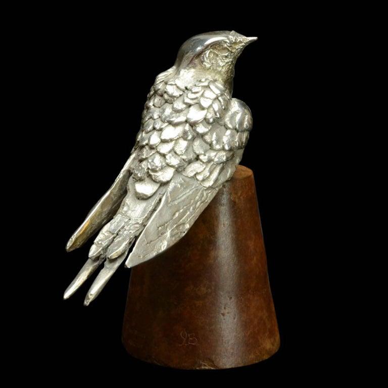Silver Swallow on flowerpot For Sale 1