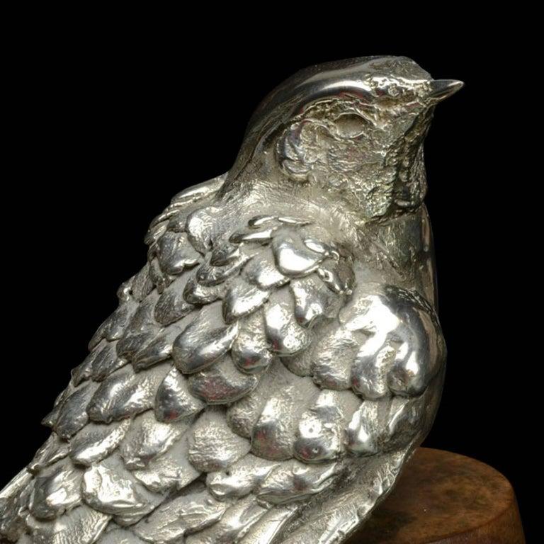 Silver Swallow on flowerpot For Sale 2