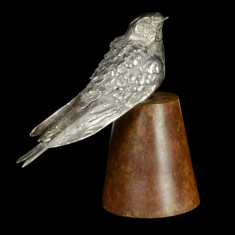 'Swallow on Flowerpot' sterling silver and bronze sculpture by Ian Bowles, the finely modelled life-size swallow in limited edition exclusively for Hancocks. Contemporary  13 cm high x 13cm long x 6.50cm wide 783 grams