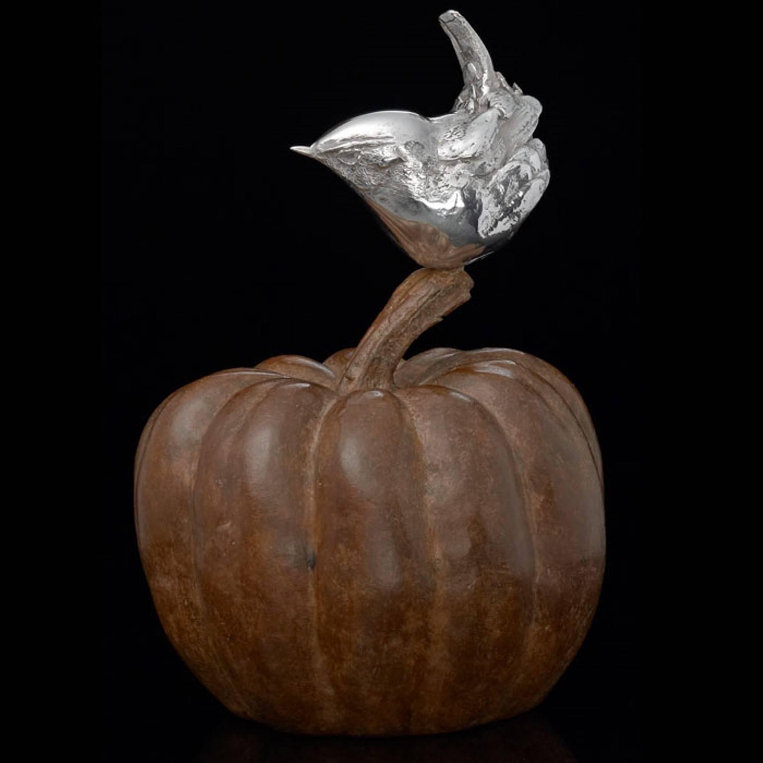 'Wren on a Pumpkin' Silver & Bronze Limited Edition Sculpture by Ian Bowles