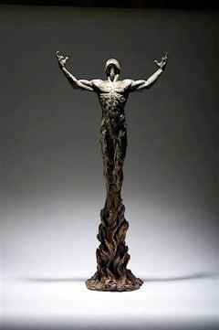 Born of Fire - tabletop Figure person body bronze sculpture contemporary