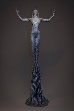 Born within Fire - Dress floorstanding Figurative female bronze sculpture