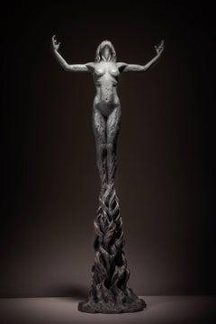Born within Fire - floorstanding Figurative female powerful bronze sculpture