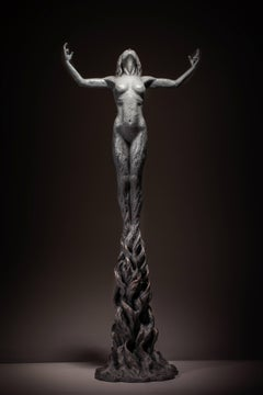 Born within Fire - Unique tabletop Figurative female powerful bronze sculpture