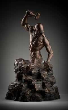 Creation of Self - tabletop Figurative bronze sculpture contemporary modern art