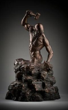 Creation of Self  tabletop Figurative bronze sculpture