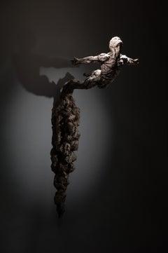 Leap of Faith - Wall mount  Figurative Nude Male bronze sculpture