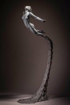 Leap Within Faith - floorstanding Figurative Nude female bronze sculpture