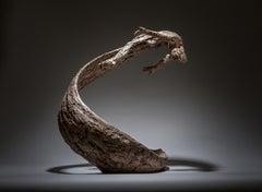 Life's Wave - Male tabletop Figurative bronze sculpture contemporary modern