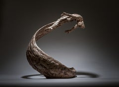 Life's Wave - Male tabletop water figure bronze sculpture contemporary modern
